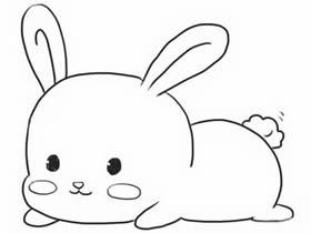 趴地上的可爱兔子简笔画画法图片步骤