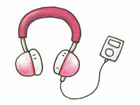 头戴耳机简笔画画法图片步骤