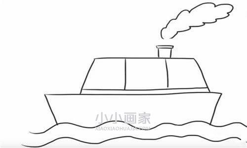 海中植物画法_海上轮船简笔画画法图片步骤_小小画家