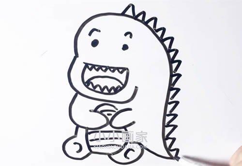 搞笑小恐龙简笔画画法图片步骤