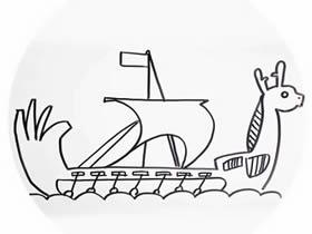 端午节龙舟简笔画画法图片步骤