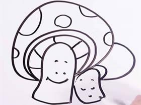 两只卡通蘑菇的简笔画画法图片步骤