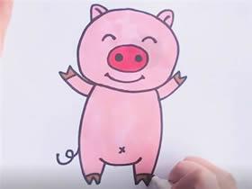 可爱小粉猪简笔画画法图片步骤