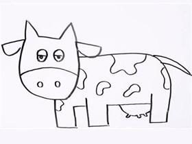 逗趣奶牛简笔画画法图片步骤