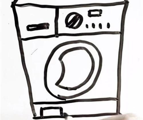 滚筒洗衣机简笔画画法图片步骤