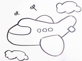 空中的客机简笔画画法图片步骤