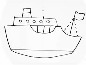 简单轮船简笔画画法图片步骤