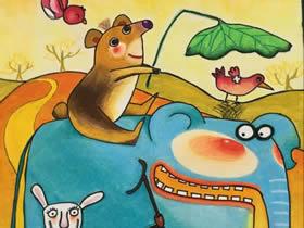 夏日出游的卡通动物蜡笔画作品图片