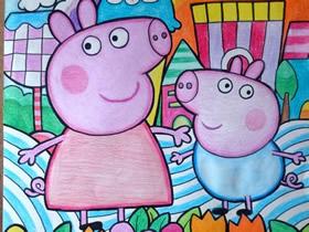 小猪佩奇和乔治蜡笔画作品图片