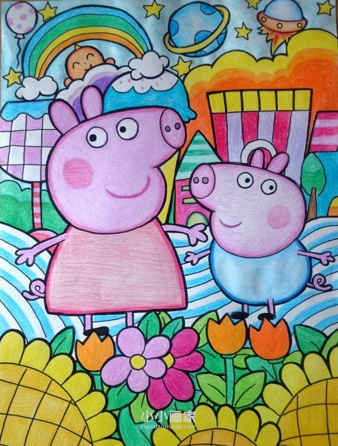 小猪佩奇和乔治蜡笔画作品图片- www.xiaoxiaohuajia.com
