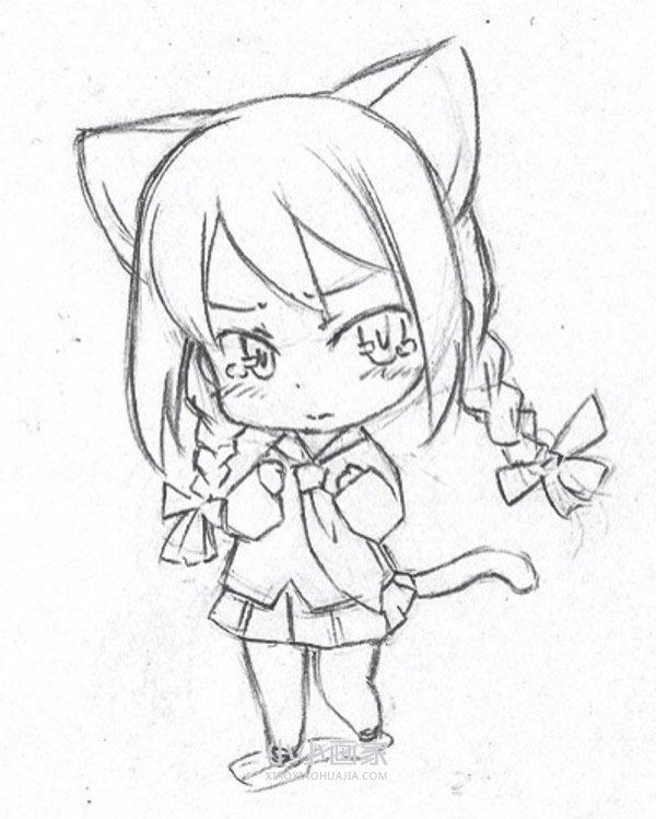 卡通女生铅笔画作品图片- www.xiaoxiaohuajia.com