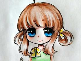 大眼睛卡通女生彩铅画作品图片