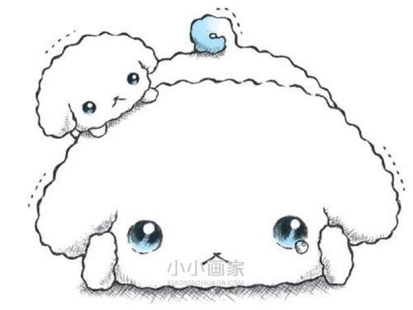 害怕哭泣的可爱小狗彩铅画作品图片- www.xiaoxiaohuajia.com