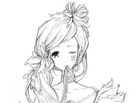 甜美的女生铅笔画作品图片