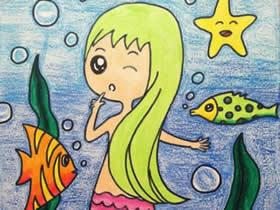 可爱又漂亮美人鱼蜡笔画作品图片