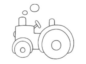 工作的拖拉机简笔画画法图片步骤