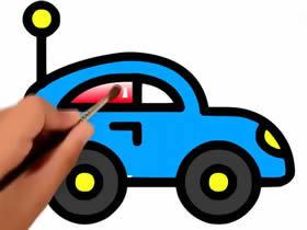 彩色小汽车简笔画画法图片步骤