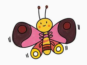 彩色的卡通蝴蝶简笔画画法图片步骤