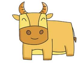彩色卡通大公牛简笔画画法图片步骤