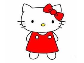 彩色凯蒂猫简笔画画法图片步骤