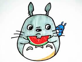 吃西瓜龙猫简笔画画法图片步骤