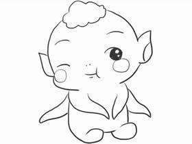 可爱胡巴简笔画画法图片步骤