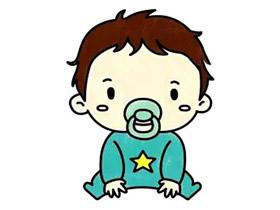 咬奶嘴的男宝宝简笔画画法图片步骤