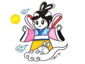 彩色中秋节嫦娥奔月简笔画画法图片步骤