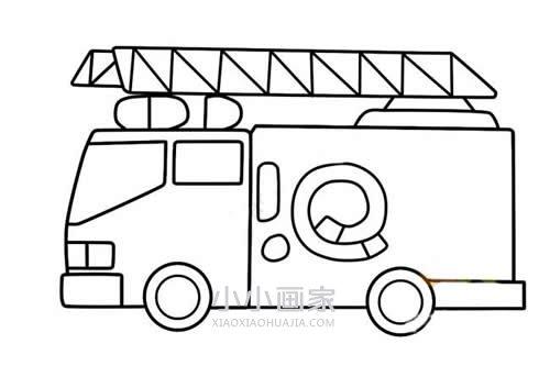 彩色消防车简笔画画法图片步骤
