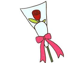 情人节玫瑰花束简笔画画法图片步骤