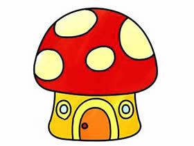 卡通蘑菇屋简笔画画法图片步骤
