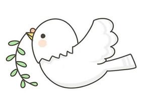 叼树枝和平鸽简笔画画法图片步骤
