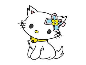 超萌小白猫简笔画画法图片步骤