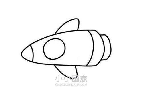 彩色宇宙飞船简笔画画法图片步骤- www.xiaoxiaohuajia.com