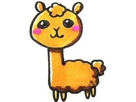 彩色羊驼简笔画画法图片步骤