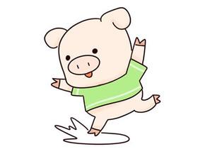 踩水塘的卡通小猪简笔画画法图片步骤