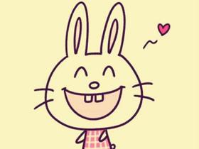 快乐卡通小白兔简笔画画法图片步骤