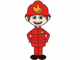 彩色消防员简笔画画法图片步骤