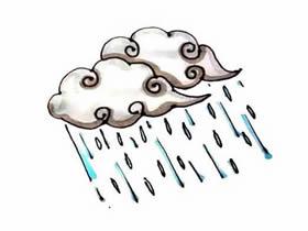 下雨的云朵简笔画画法图片步骤
