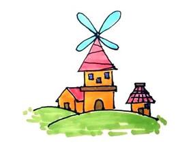 彩色风车屋简笔画画法图片步骤