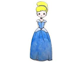 彩色灰姑娘简笔画画法图片步骤
