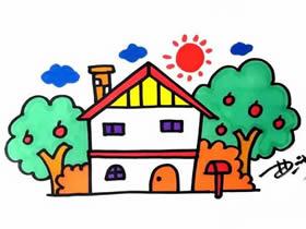 果树旁小房子简笔画画法图片步骤