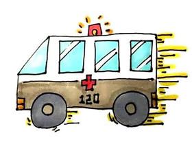 开动的救护车简笔画画法图片步骤