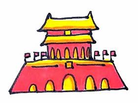 国庆节天安门简笔画画法图片步骤