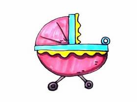 彩色婴儿车简笔画画法图片步骤