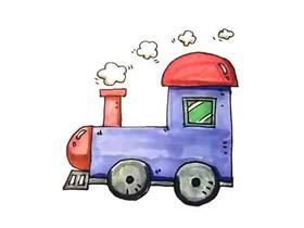 开动的火车头简笔画画法图片步骤