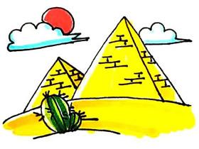 彩色金字塔简笔画画法图片步骤