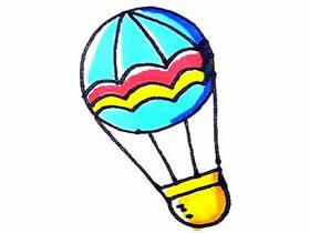 彩色热气球简笔画画法图片步骤