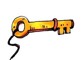 古朴的钥匙简笔画画法图片步骤