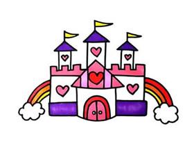彩色城堡简笔画画法图片步骤